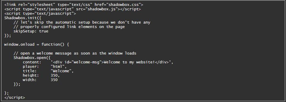 Usage of Shadowbox js